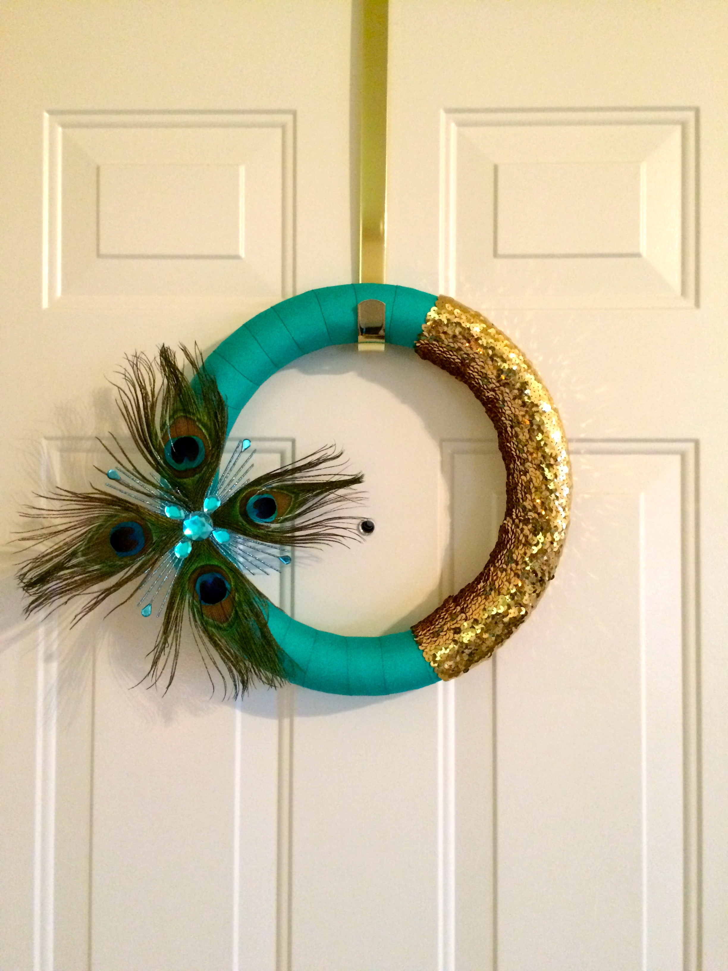 My DIY Peacock Feather Holiday Wreath