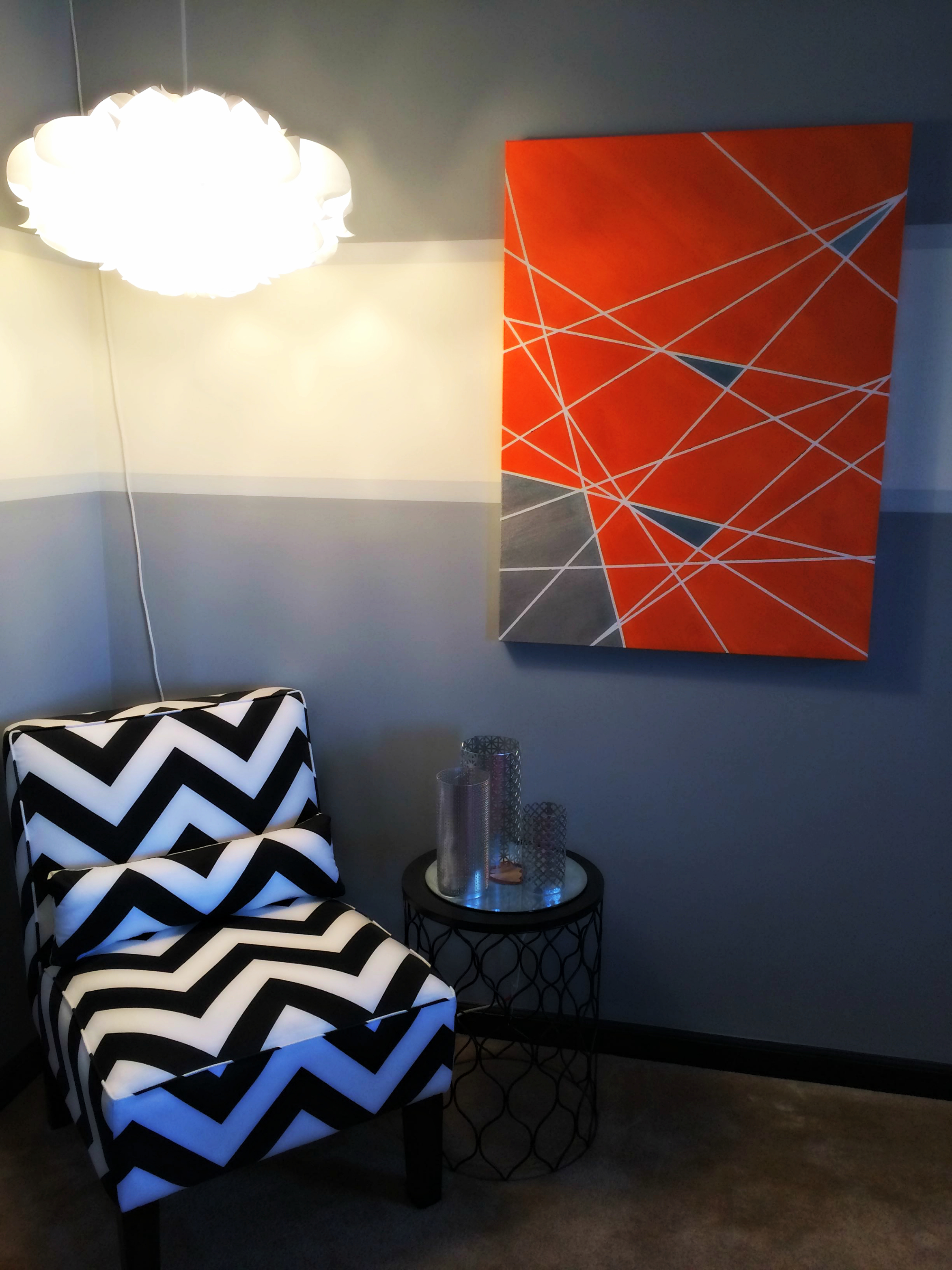 My DIY Geometric Print Canvas Wall Art   Displayed