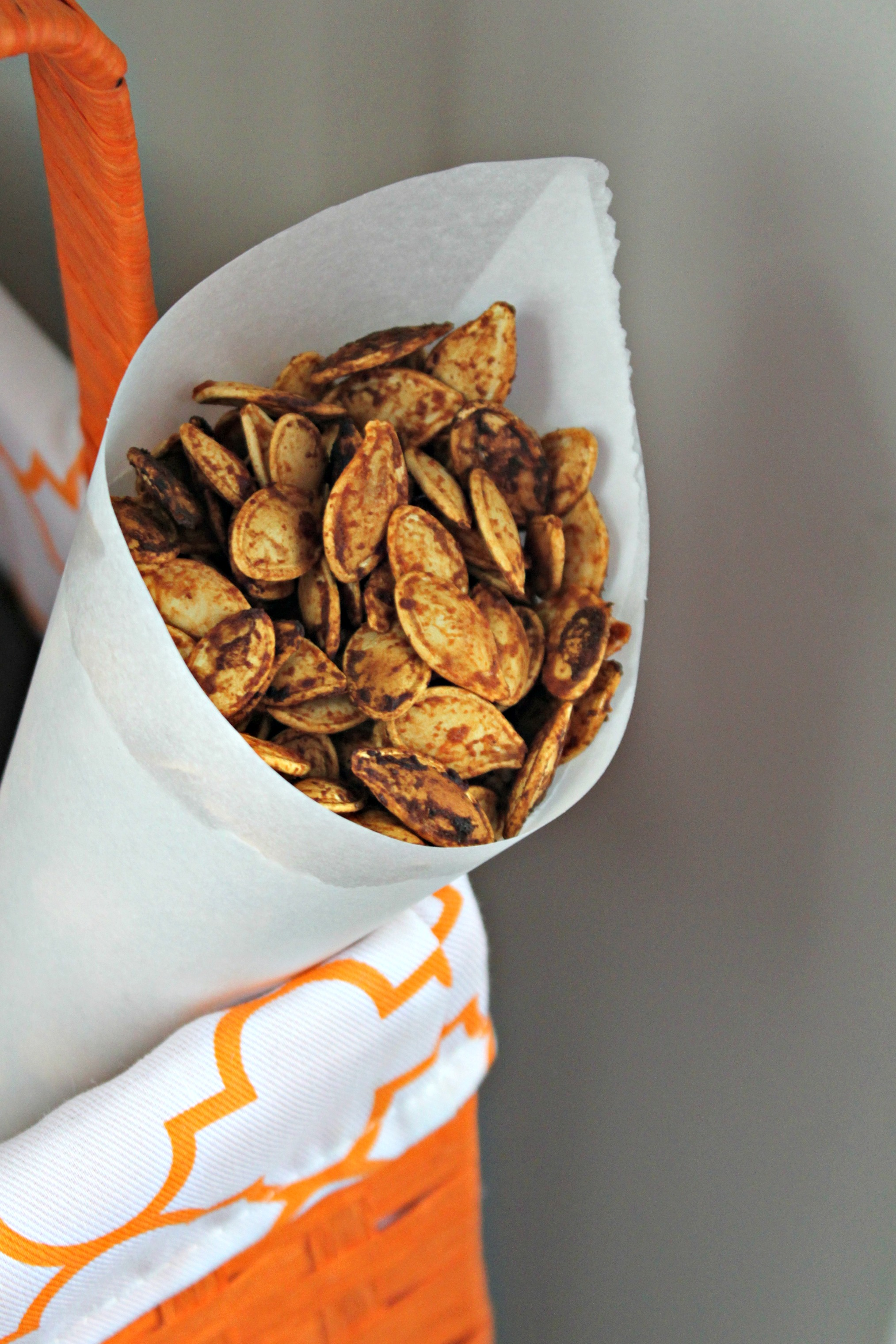 Sriracha Roasted Pumpkins Seed in a Paper Cone | {My Life Space Moments}