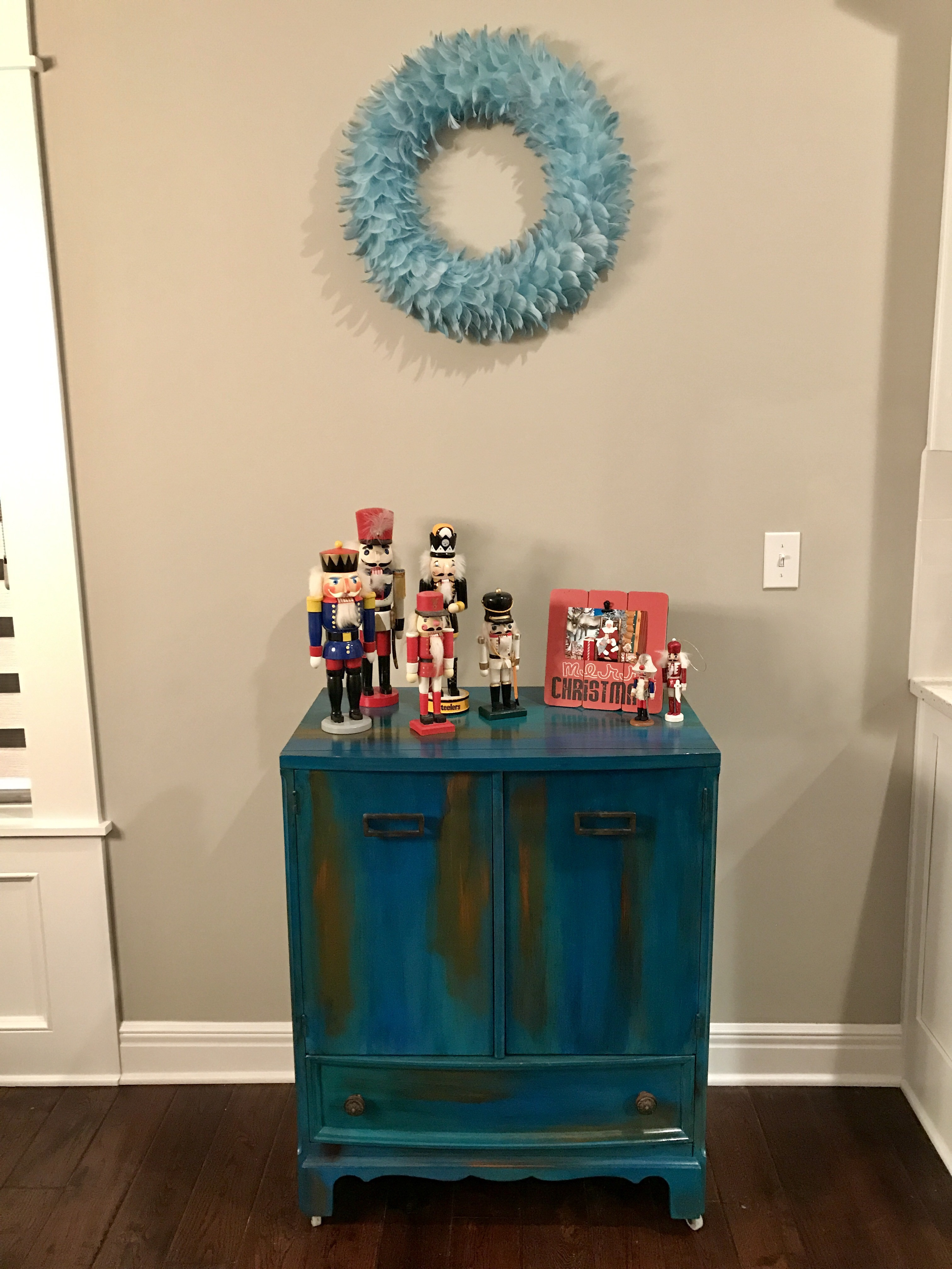 Bermuda Blended Cabinet Donning Both of My Late Grandmothers' Nutcrackers At Christmastime