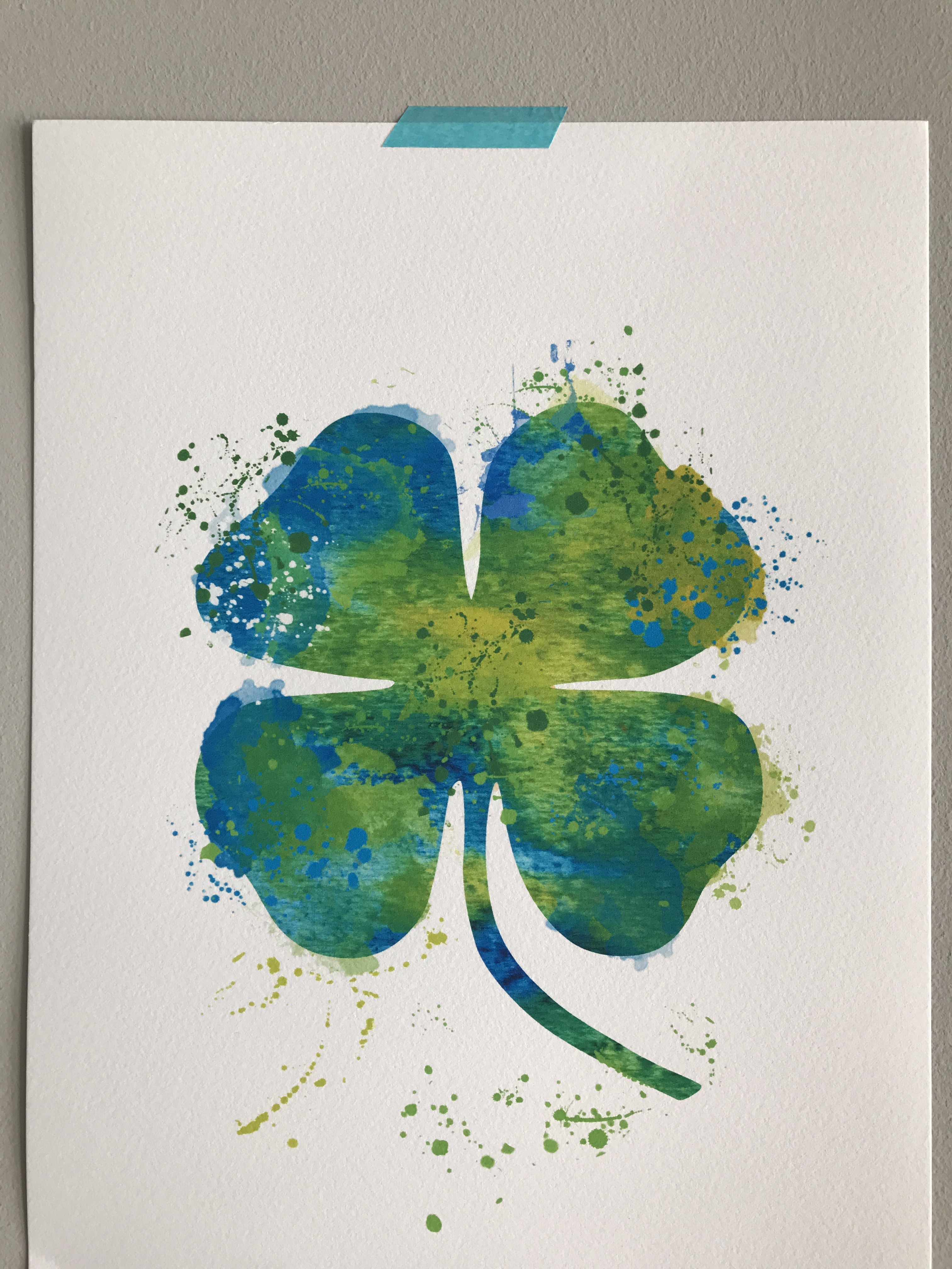 Lucky Clover ~ Ink & Watercolor Painting | oinkartprints, Barcelona, Spain